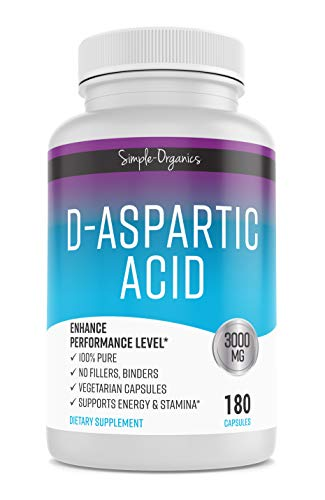 D-Aspartic Acid, 180 Vegan Capsules, 3000mg Non-GMO, No Fillers, Gluten Free