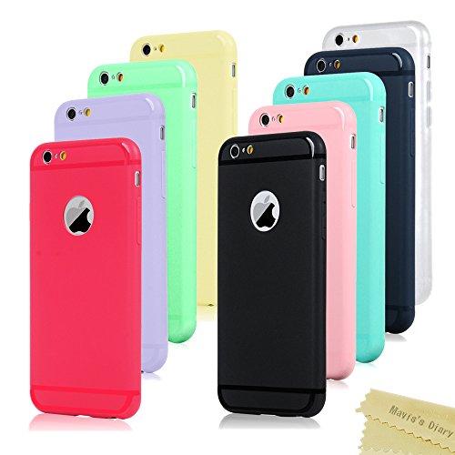 Mavis's Diary 9x Funda iPhone 6, iPhone 6s Carcasa Silicona Gel Mate Case, Ultra Delgado TPU Goma Flexible Cover para iPhone 6/6s - (Azul + Amarillo + Verde + Negro + Transparente blanco + Azul oscuro + Rojo + Púrpura claro + Rosa claro)