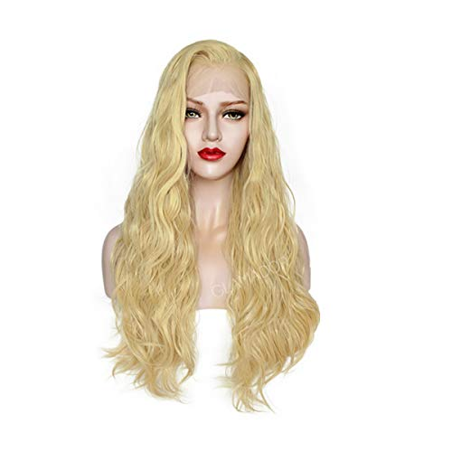 13X4 Lace Front Wig GLAMADOR Light Blonde Natural Long Wavy Wig, Curly Synthetic Hair Natural Middle Part Heat Resistant Wig, Fancy Dress Cosplay Costume Halloween Wig for Women with Free Wig Cap 24''