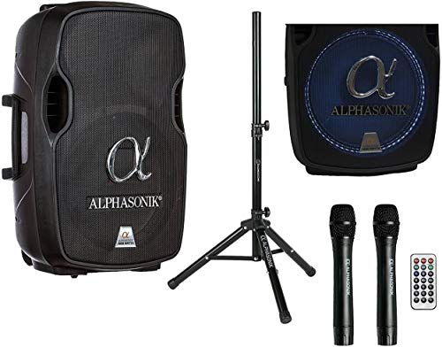 Alphasonik 15' Portable Rechargeable Battery Powered 1500W PRO DJ Amplified Loud Speaker with 2 Wireless Microphones Echo Bluetooth USB SD Card AUX MP3 FM Radio PA System LED Ring Karaoke Tripod Stand