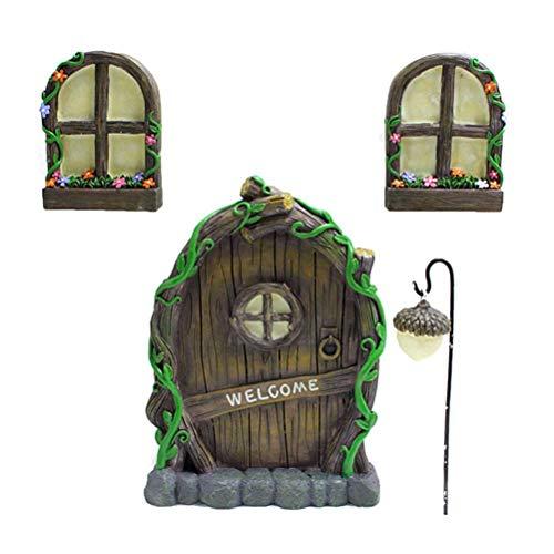 Yumira Miniatur Fee Haus Tür Fenster und Kronleuchter Mini leuchtenden Baum Garten Tür kreative leuchtende Baum Dekor Handwerk Set für Bäume, Garten-Skulptur