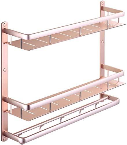 Hewen Wandhalterung Badezimmer Regal WC 3 Schicht Lagerung Regal Nichtrostender Chrom-Regal Handtuch Regal Edelstahl Badetuchstange (Size : 40CM)
