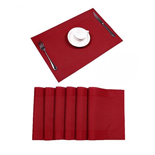 U'Artlines 6er Set Platzsets Hitzebeständigen Waschbaren Vinyl Tischsets 30 * 45cm (6er Platzsets, Rot)
