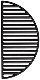 Aura Outdoor Products Half Moon Cast Iron Reversible Grate for Large Big Green Egg or Any 18 Inch Ceramic Grill