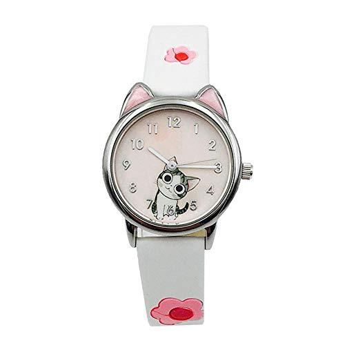 Reloj Niño ZWRY Lindo patrón de Gato de Queso Reloj para niños Relojes para niños para niños niña Estudiante Reloj Regalo Blanco