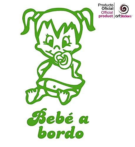 """Artstickers® - Adesivo con scritta """"Bebé a Bordo"""", motivo: bimba,collezione Babyfun, 10colori a scelta + regalo sorpresa 9 cm x 16,2 cm Rosa"""