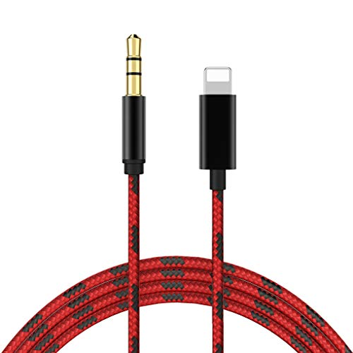 Cavo Aux per iPhone Cavo audio auto Jack da 3,5 mm ausiliario Premium per iPhone 11/X/XR/XS/8/8Plus Da maschio a maschio cuffie Accessori Altoparlante stereo Connettore Tessitura-3Ft / 1M Rosa-Nero