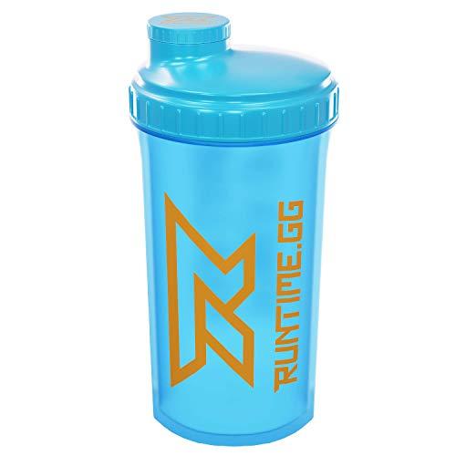 Runtime Shaker 700ml con colador para Proteínas | Botella Deportiva para Fitness | Sin BPA, incluye escala de medición (Neon Blue)