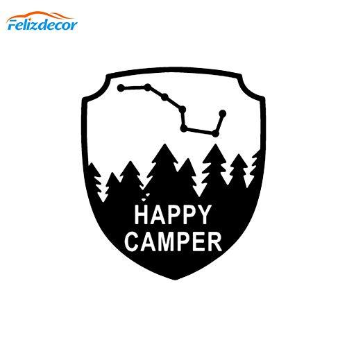 WYJW Happy Camper Vinyl Sticker Gesneden Naar Auto Tekst Citaat Sticker Auto Verwijderbaar Naar Mold Zwarte Auto Sticker