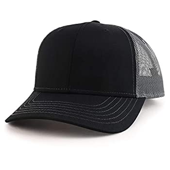 Armycrew Oversize XXL Low Profile Two Tone Mesh Back Trucker Baseball Cap - Black Charcoal - 2XL