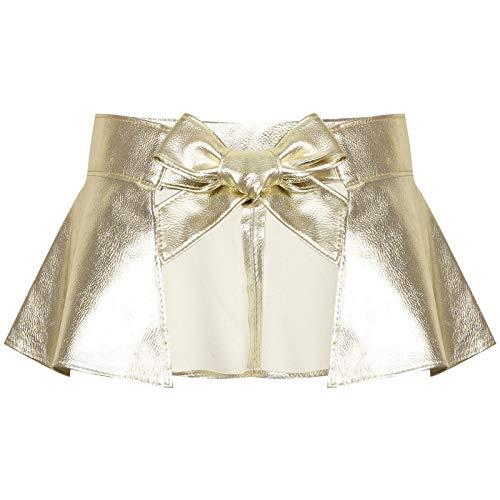 LULIJP Catsuit Mujeres Atractivas PU Cuero A-Line Pleated Falda de Poca Altura Cintura Softled Falda Micro Mini Falda Noche Club Falda (Color : Oro, Size : One Size)
