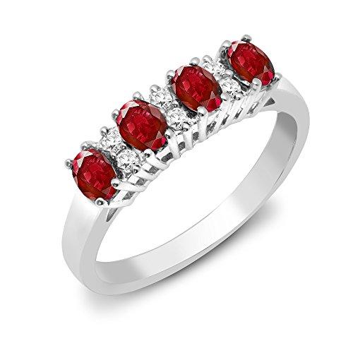 Jewelco Europa Señoras Oro Blanco 9k 0.12ct Diamante Rubi eternidad anillo