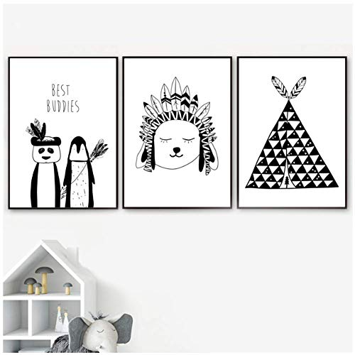 wzgsffs Black White Panda Penguin Tent Wall Art Canvas Prints Room Cartoon Posters And Prints Wall Pictures For Room-20X28*3P Inch Frameless