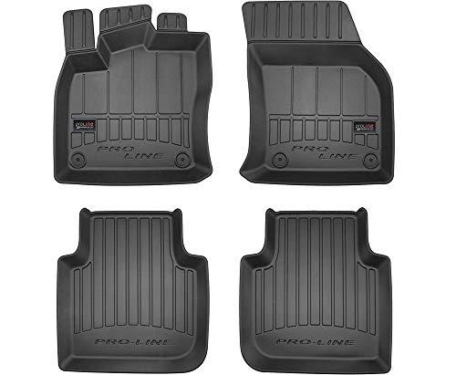 Pro-Line 3D407275 3D Gummimatten Auto Fußmatten TPE, Extra Hohe Rand, Komplettset 4-Teilig mit Befestigungssystem - Schwarz