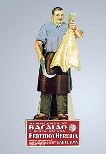 Originally this man sized carboard standee was in a store in Barcelona Spain promoting bacalo Bacalao is the Spanish term for dried salt cod a major staple of the Spanish diet Poster Print by Unknown