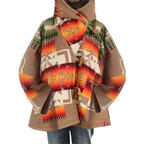 Ai.Moichien Chaqueta Suelta Estampada Vintage Bohemia para Mujer Abrigo con Bolsillo con...