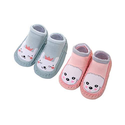 Calcetines Antideslizantes para Bebé Niños Niñas Zapatos Bebe de Primer Paseo 2.5-3 años Pink Dog/Green Rabbit