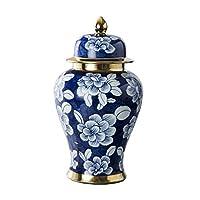 家の装飾の花瓶セラミック花瓶中国の手描きの青と白の磁器の装飾家の装飾のための装飾的な花瓶、テーブルトップのセンターピース(3つのサイズ)(色:B)