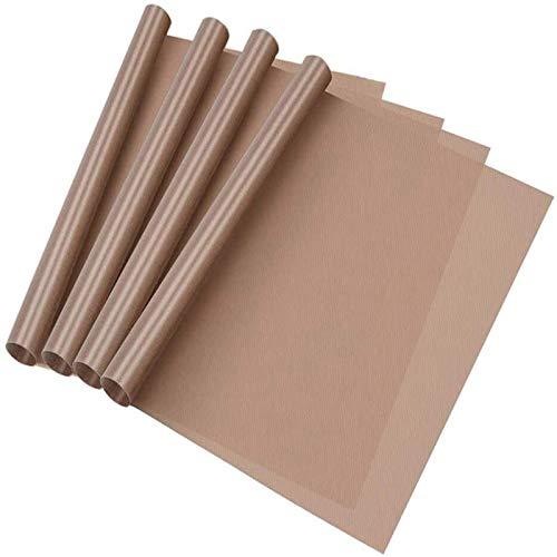 Splend 4 Pezzi Carta da Forno, Pergamena,Tappetino da Forno Riutilizzabile, Carta da Forno Ecologica, per Grigliare e Cuocere La Pittura a Olio, ECC(40x30 cm Marrone)