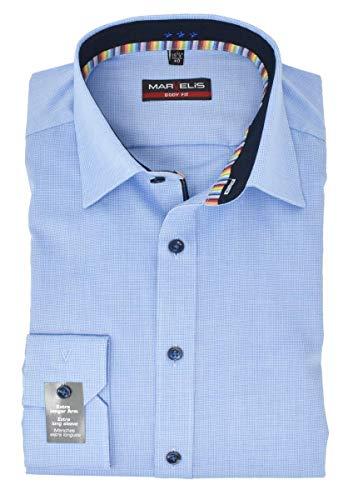 Marvelis Body Fit Hemd Extra Langer 69cm Arm Vichykaro Blau bügelleicht Reine Baumwolle, Größe:42