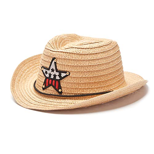 Haptian zonnehoed, jongens meisjes kinderen zomer stro-zonneklep hoed Amerikaanse vlag ster embleem patch Westlichen Cowboy brede krullende rand kinderen strandmuts met kinriem 1#
