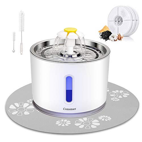 Comsmart Cat Water Fountain, 81oz/2.4L LED Pet Fountain Stainless Steel Automatic Drinking Water Dispenser for Cats, Dogs, Other Pets