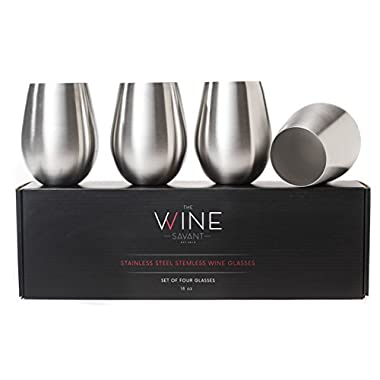 The Wine Savant Metal Wine Glasses Set of 4, Large Unbreakable, Shatterproof 18 Oz Wine Tumblers, BPA Free and Dishwasher Safe, Made with 18/8 Stainless Steel, Stemless Metallic Wine Glass