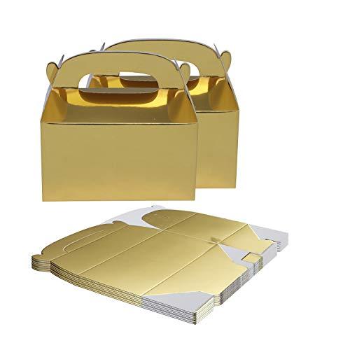 Caja Regalo (Pack de 24) - 15 x 16 x 9.3cm Cajas Regalo Papel Dorado Brillante - Cajitas de Regalo para Niños - Cajita Regalo Personalizado, Baby Shower
