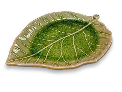 Keramik Teller Blatt - 25x17,5cm glasierter Teller in Form eines Blattes, grün