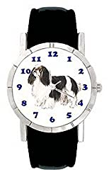 jwl0761 Cavalier King Charles Spaniel DogメンズレディースGenuineレザーWrist Watch[Wristwatches/Amazon]