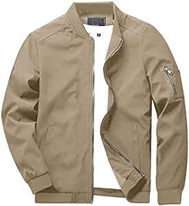 Kefitevd Chaqueta ligera bomber para hombre, con bolsillo en la manga, chaqueta de entretiempo, chaqueta con cuello alto, chaqueta de aviador americano con bolsillo interior, estilo militar caqui XXL