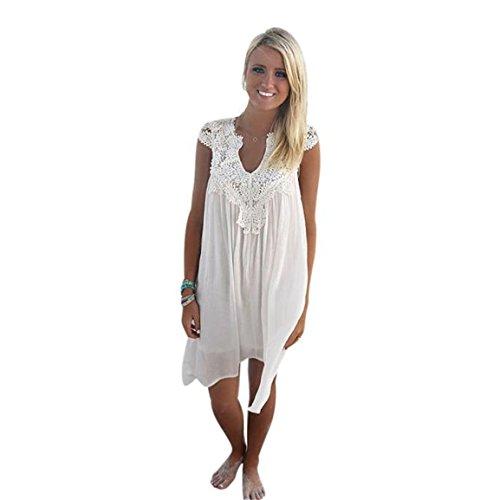 Moonuy,Weißer Rock Damen,Rockabilly Kleid,Damen weißen Rock, Boho ärmellose Frauen lose Sommer Strand Spitze V-Ausschnitt Kleid ärmelloses Volltonfarbe Kleid (UE 36 / Asie M, Weiß)