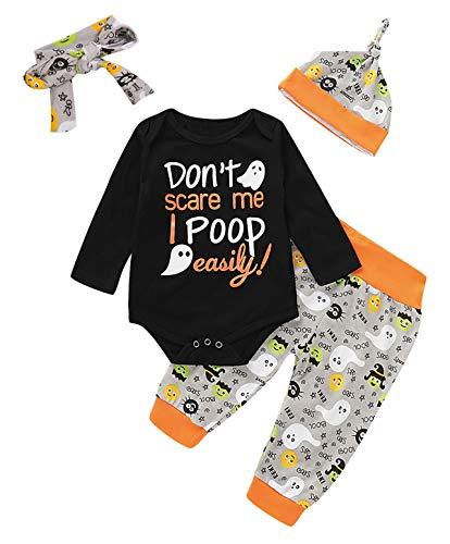 Baby Boy Girl Halloween Outfit Set Newborn Ghost Pumpkin Bodysuit (0-3 Months, Gray)