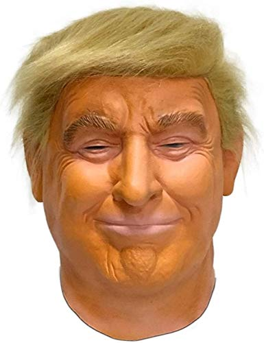 TK Gruppe Timo Klingler Donald Trump Maske Latex - Fasching Karneval Maske Poltiker, Perücke aus Latex für Herren und Damen Kostüm (1x)