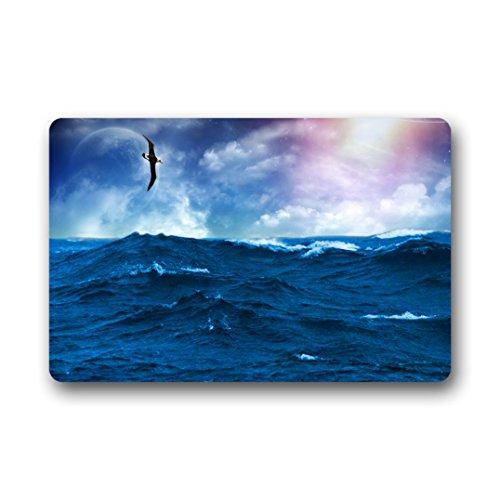 DongMen Bourg personnalisés préférés Bleu océan et Bateau en Caoutchouc antidérapant Paillasson Intérieur/extérieur 46 cmx76 cm, Tissu, C, 18\