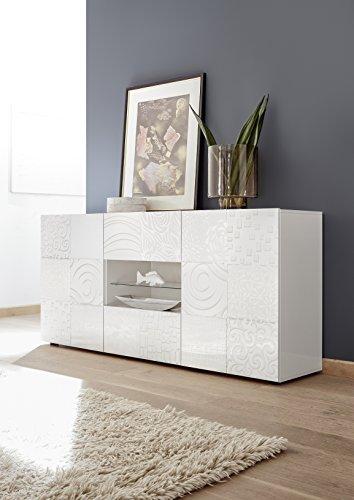 Arredocasagmb.it Mobile Contenitore 2 Ante 2 cassetti Moderno Bianco Lucido Ante con Serigrafia Soggiorno Madia Buffet con sportelli Design Mira 07