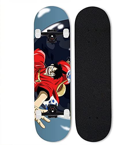 Ltyxyuan Monopatín profesional de cuatro ruedas, monopatín exterior de skate7 - Monopatín de arce para una pieza: Monkey D. Luffy, monopatín de doble inclinación de anime, monopatín completo de 31 pul