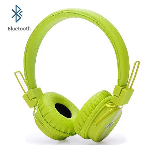 Auriculares Inalámbricos Bluetooth para Niños Adulto, Cascos Recargables y Plegables con Micrófono y Limitador de Volumen para Tableta, PC, Smartphone, Música por Invech(Verde)