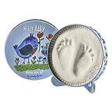 Baby Art - Geschenkbox aus Metall, Rund, besondere Geschenke Box mit Gipsabdruck zum Selbermachen für Baby Fußabdruck oder Handabdruck, Hello Baby Limited Edition Birds