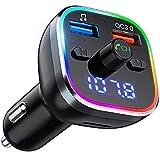 Trasmettitore Bluetooth 5.0 per Auto, VicTsing FM Transmitter Bluetooth Caricatore Auto QC3.0 6 Colori RGB Luce Anello Supporto U Disk/TF Card