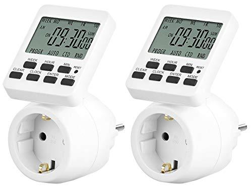 revolt Schaltuhr für Steckdosen: 2er-Set Digitale Zeitschaltuhren mit 180° rotierbarem LCD-Display (Digitale Wochenzeitschaltuhr)