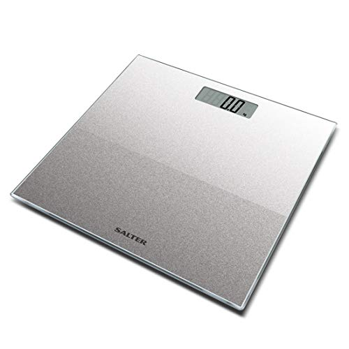 Salter Glitter Bathroom Scales – Supersize Digital Display Electronic Scale for Precise Weighing, Toughened Glass Platform, Step-On for Instant Reading, Metric + Imperial. 15 Year Guarantee - Silver