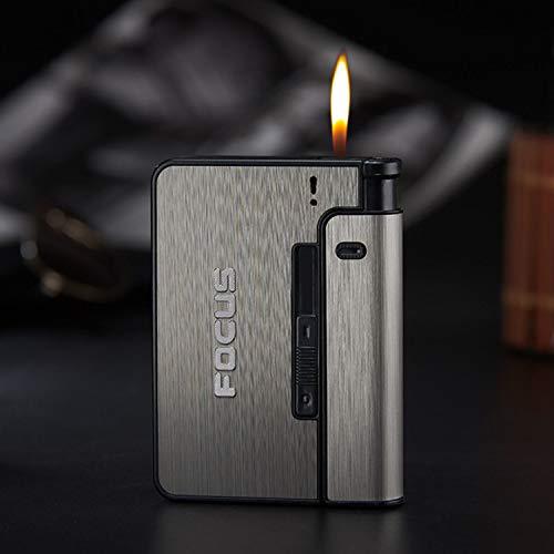 Metal Cigarette Case, Regular Lighter Case/Box Cigarette Pocket Holder, Flip Top Cigarette Cases for Men and Women-Black