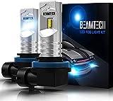 BEAMTECH H11 H8 H9 H16 (JP) Bombillas LED antiniebla, 60 W, 6500 K, xenón blanco, 1600 lm, CSP, repuesto halógeno súper brillante (paquete de 2)