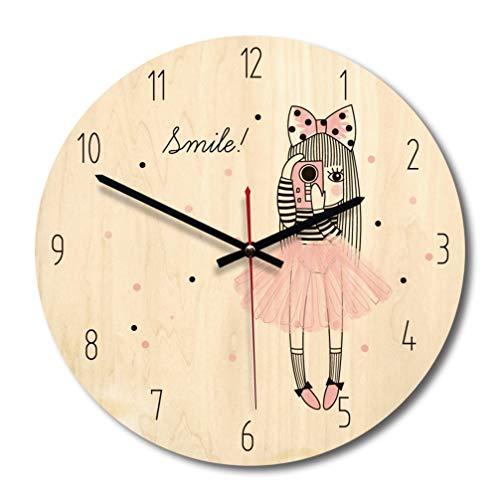 Relógio BesPORTBLE, 1 peça, estilo nórdico, contos de fadas, temporizador redondo de madeira para sala de estar, quarto, berçário