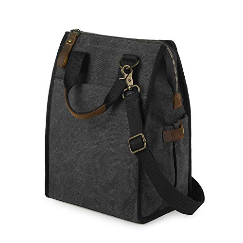 SMRITI Insulated Canvas Lunch Bag 9.6 L Reusable Leakproof Lunch Container for Women Men with Crazy Horse Leather Handle and Zipper Closure Keep Food Warm Work Office School Picnic(Dark Grey)