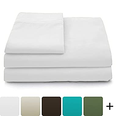 Cosy House Collection Luxury Bamboo Sheets - 4 Piece Bedding Set - High Blend From Organic Bamboo Fiber - Soft Wrinkle Free Fabric - 1 Fitted Sheet, 1 Flat, 2 Pillow Cases - King, White