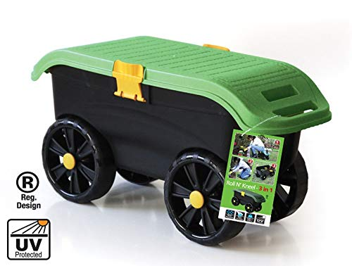 TEC HIT 390003 - Siège Jardinier Roulant - 3 en 1 - Rangement - Noir/Vert