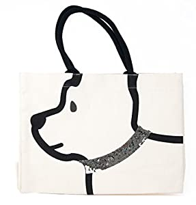 Cute dog head on tote bag