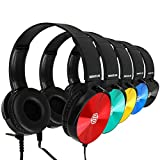Classroom Headphones-Bulk 10-Pack, Student On Ear Color Varieties- Comfy Swivel Earphones for Library, School, Airplane, Kids-for Online Learning and Travel-Noise Reducing, HQ Stereo Sound 3.5mm Jack